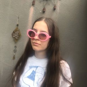 🆕 Pink Clout Goggles Mod Oval Sunglasses